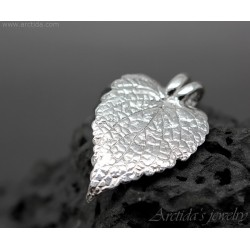 Silver leaf pendant Real...
