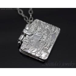 Book pendant fine silver...
