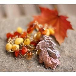 Oak leaf Amber Carnelian...