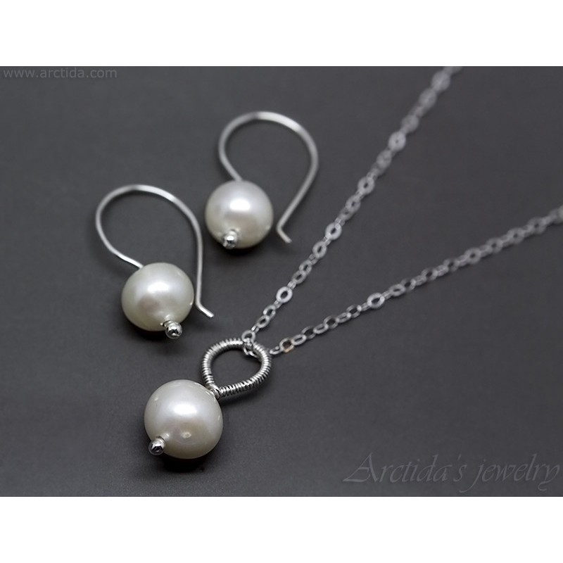 Sterling silver and pearl necklace and earring set